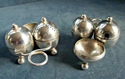 GOOD Petite PAIR ~ SILVER Plated ~ CRUET SET ~ c1920 by Mappin & Webb