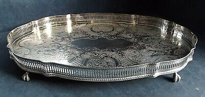 """GOOD 18"""" Ornate ~ SILVER Plated ~ Georgian Style ~ GALLERY TRAY ~ c1950 ~ 45cm"""