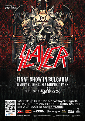 SLAYER / SATRICON 2019 SOPHIA, BULGARIA CONCERT TOUR POSTER - Thrash Metal Music