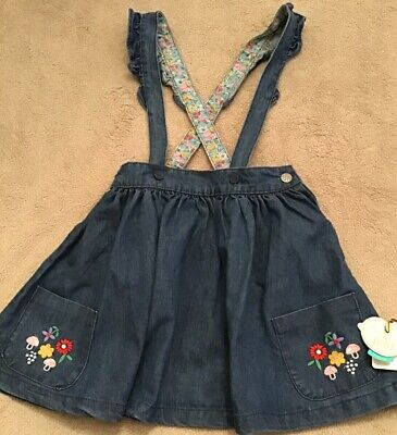 Little Bird By Jools Oliver Girls Denim Pinny Skirt 7-8 Yrs 🍄 BNWT 🍄