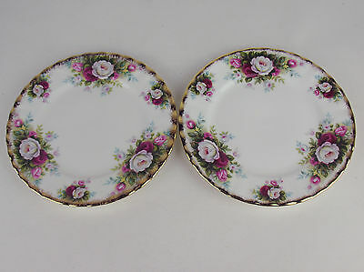 "2 x Bread Plates 6 3/8"" Royal Albert Celebration roses vintage 1969 England"