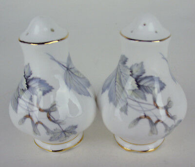 Salt + Pepper Shaker Set Royal Albert Silver Maple vintage bone china England