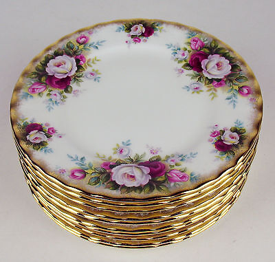 "10 x Bread Side Plates 6 1/4"" Royal Albert Celebration roses vintage England"