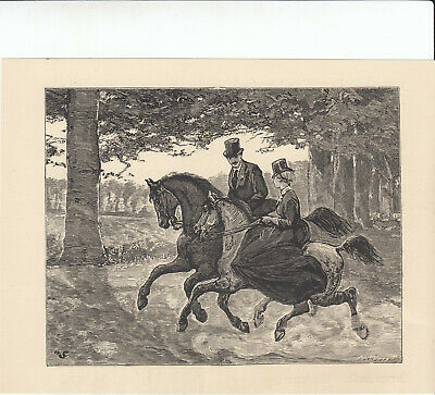 Victorian Equestrian Lady Riding Horse Side Saddle Antique Print 1887