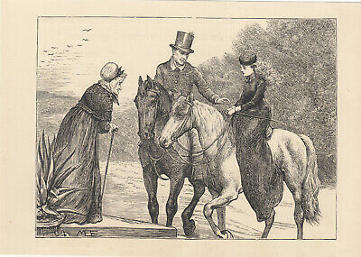 Victorian Lady Riding Horse Side Saddle Equestrian Antique Print 1887