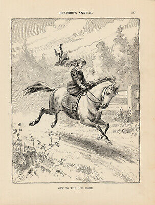 Victorian Equestrian Girl Riding Horse Side Saddle Antique Print 1889