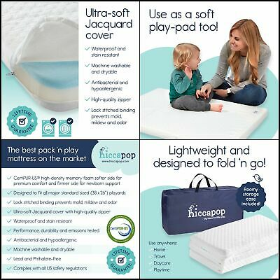 Trifold Pack Play Mattress Pad with Firm for Babies Soft Toddlers Sides Portable