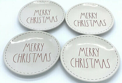 """Rae Dunn Christmas Plates MERRY CHRISTMAS LL Set Of 4 White w/ Red Letters 8"""""""