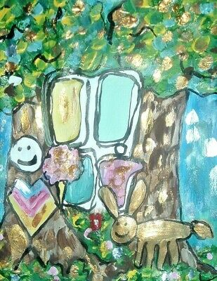 original painting family outsider forest tulip abstract floral art 8x10 NR