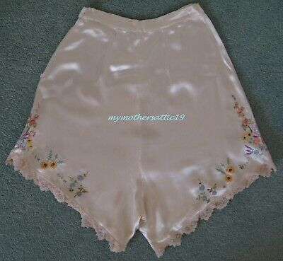 1920s Cream Satin Lace Knickers with embroidery