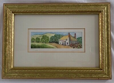 """Small framed watercolor, limited edition & signed, 6.75"""" x 9.75"""""""
