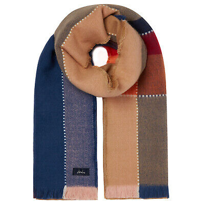 Joules Stamford Womens Accessory Scarf - Tan Check One Size