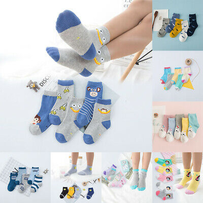 5 Pairs Baby Boy Girl Cartoon Cotton Socks Kids Toddler Infant Cute Ankle Socks