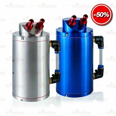 UNIVERSAL Aluminium Alloy Engine OIL CATCH Reservoir Can 2 Port Cylinder Tank