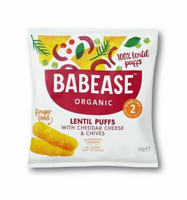 Babease Organic Lentil Cheddar Cheese & Chives Puffs 20g (Pack of 5)