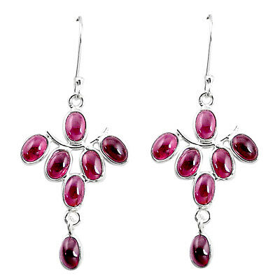 11.17cts Natural Red Garnet 925 Sterling Silver Chandelier Earrings P27349