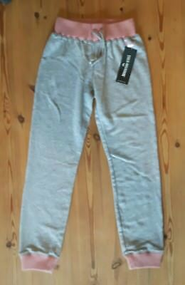 True Religion Jeans Girls Age 8 Logo Sweat Pants Pink/Grey BNWT