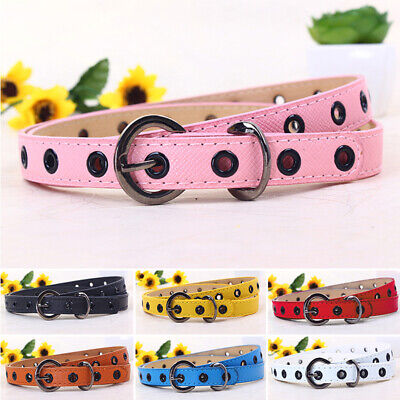 Baby Kids Girls Candy Color PU Leather Waistband Hollow Flower Sweet Buckle Belt
