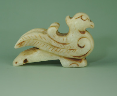 Rare Chinese old jade hand carved bird Statue amulet antique pendant 0327