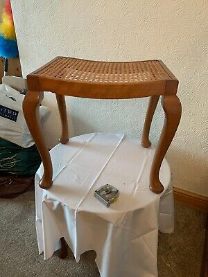 Edwardian Caned Stool Duo Bench Rattan Cane Retro Dressing Table Piano Foot