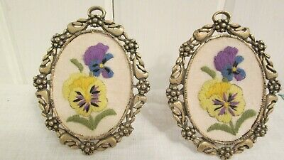 """2 Embroidered Pansies Pansy Metal Frames Miniature Purple Yellow 2 3/4"""" x 3 1/4"""""""