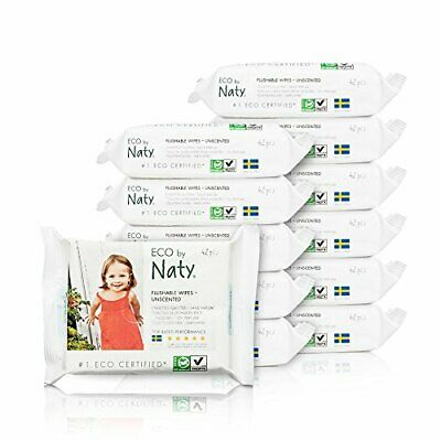 ECO by Naty Flushable Baby Wipes, Unscented, 42 (504 count|Fragrance-Free)