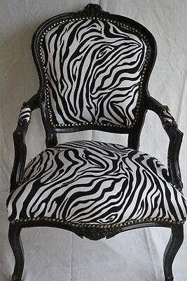 LOUIS XV ARM CHAIR FRENCH STYLE CHAIR VINTAGE FURNITURE zebra