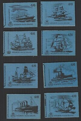 1968-70 eight different 4/6d Machin Ship booklets