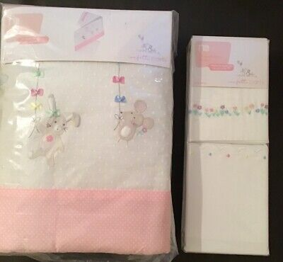 Mothercare Confetti Party Cot Bumper & Pack Of 2 Flat Sheets For Cot Or Cot Bed