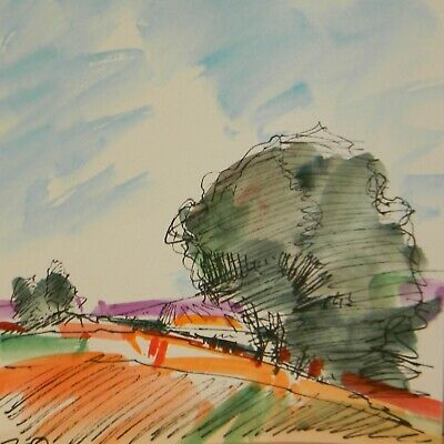 JOSE TRUJILLO Art ORIGINAL Watercolor Painting Expressionism Modern Tree Hill 6""