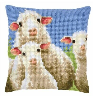 Sheep - Large Holed Printed Tapestry Canvas Cushion Kit Chunky Cross Stitch