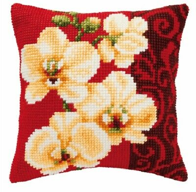 Orchid - Large Holed Printed Tapestry Canvas Cushion Kit Chunky Cross Stitch