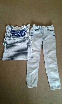 Next Girls pale demin jeans with matching H & M  t-shirt age 9
