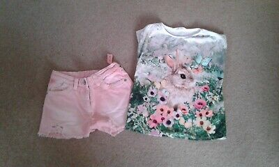 Next Girls pink demin shorts with matching H & M t-shirt age 8/9