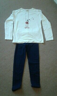 M&S Girls navy leggings  with Zara long sleeved matching t-shirt age 9/10 years