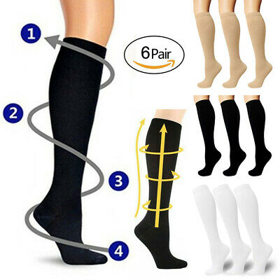 (6 Pairs) Copper Compression Socks 30-40mmHg Graduated Support Mens Womens S-XXL
