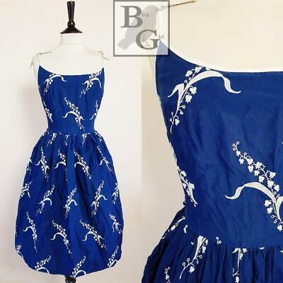 Original 1950S Vintage Navy Cotton White Floral Embroidered Swing Day Dress 8 Xs