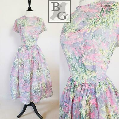 Divine Original 1950S Vintage Grey Floral Sheer Floaty Swing Day Dress 14 M