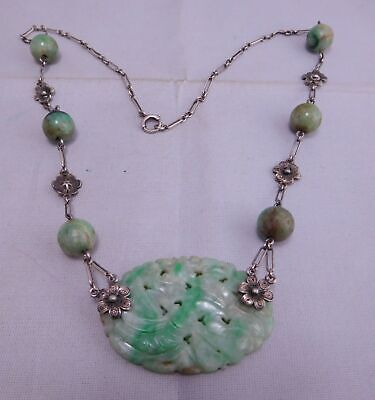 Asian Chinese Export Sterling Silver Pierced Floral Carved Jade Stone Necklace
