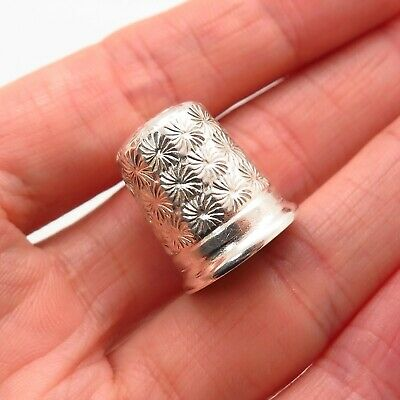 Antique Victorian 925 Sterling Silver Etched Floral Collectible Sewing Thimble