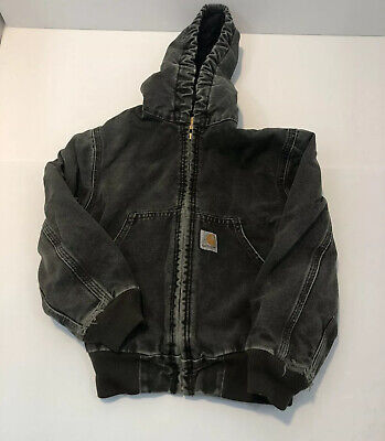 Vintage Carhartt Youth Union Made Green to Gray Canvas Jacket Size Small
