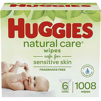 Huggies Natural Care Unscented Baby Wipes, Sensitive, 6 Refill (New Version)