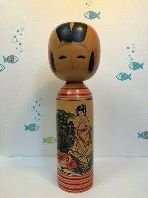 Kokeshi traditional Japanese crafts 飯坂温泉kokeshi  IizakaOnsen 8.6in