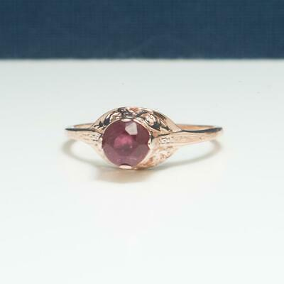 Art Deco .46ctw Genuine Ruby 14k Rose Gold / 925 Sterling Filigree Ring