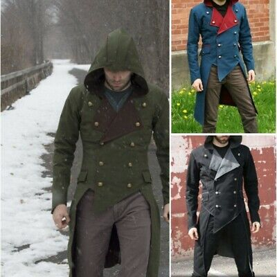 Cosplay Vintage Men Steampunk Hood Jacket Patchwork Double-breasted Gothic Coats