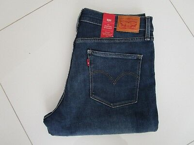 Levi's 314 Ladies Blue Mid Rise Shaping Straight Stretch Jeans  Size 31
