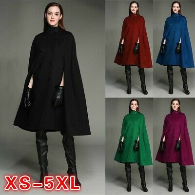 Women's Plus Size Cloak 3/4 Sleeves Double Breasted Coat High Collar Cape Winter