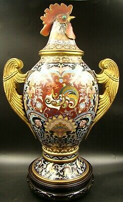 20th Century Monumental Chinese Taotie Enamel Gilded Rooster Figural Covered Urn