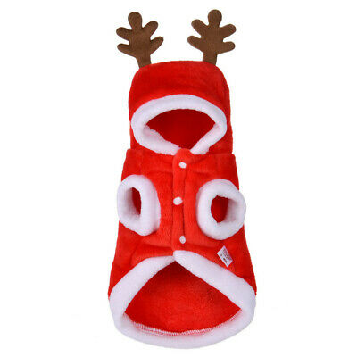 Cute Dog Puppy Christmas Santa Warm Costumes Coat Clothes Pet Apparel Outfit US
