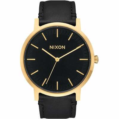 Nixon Porter Leather Homme Montre - All Black Gold Une Taille